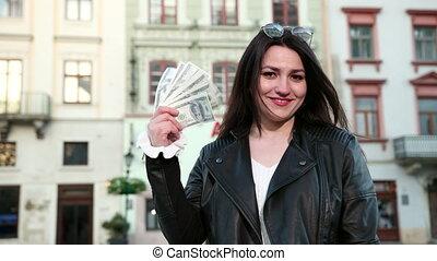 piękny, wealth., loteria, pieniądze, młody, zwyciężył, czarnoskóry, sprawiać przyjemność, dziewczyna, okulary