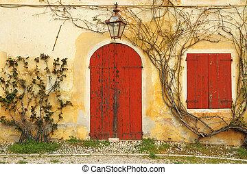 piękny, wejście, stary, barwny