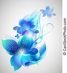 piękny, wektor, sztuka, kwiat, tło
