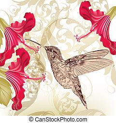 piękny, wektor, tło, brzęczący, kwiaty, ptak
