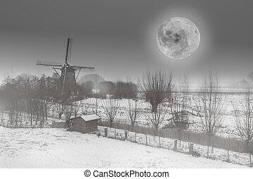 piękny, wiatrak, pełny, zima, księżyc, czarnoskóry, holenderski, biały, krajobraz
