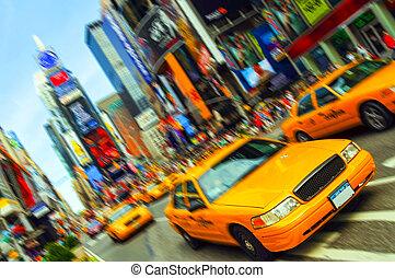 piękny, wibrujący, taksówka miasta nowego yorku, czas trwania plac, ruch, blur., wszystko, logo, i, trademarks, czas teraźniejszy czasownika be, zamazany, na zewnątrz.