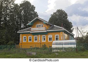piękny, wieś, dom, z, niejaki, szklarnia
