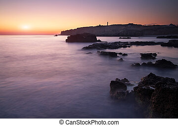 piękny, wieczorny, motyw morski, niebo, zatoka, sundown., morze, podczas