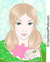 piękny, wiosna, ilustracja, zielony, wróżka, odzież
