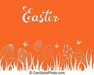 piękny, wiosna, jaja, motyle, wielkanoc, karta
