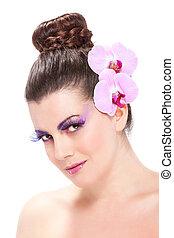piękny, wiosna, makijaż, z, storczyk, kwiaty