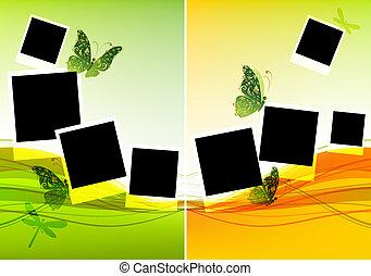 piękny, wkładka, collage, fotografie, projektować, motyle, ...