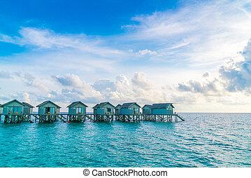 piękny, woda, malediwy, wyspa, tropikalny, zachód słońca, wille, czas