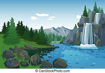 piękny, wodospad, krajobraz