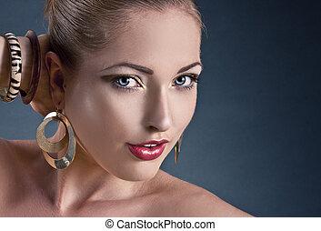 piękny, woman., fason, sztuka, photo., szczelnie-do góry, makijaż