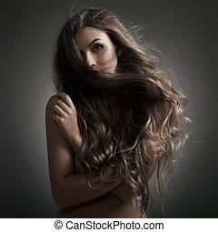 piękny, woman., trzepotliwy, długi, hair.