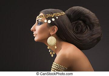 piękny, wschód, kobieta