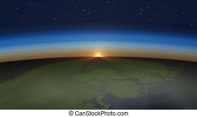 piękny, wschód słońca, na, ziemia