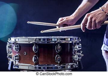 piękny, wtyka, gry, perkusja, pojęcie, instrument,...