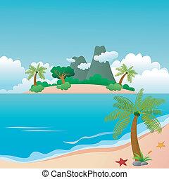 piękny, wyspa, plaża, raj