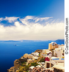 piękny, wyspa, (santorini, greece), krajobraz, prospekt