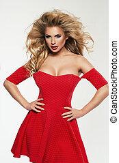 piękny, wzór, kobieta, odizolowany, fason, blondynka, strój, biały czerwony