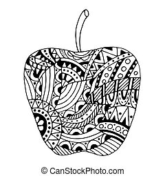 piękny, wzory, stylizowany, jabłko