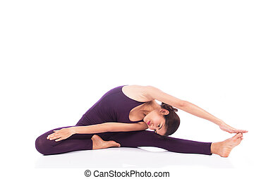 piękny, yoga, ruch, kobiety
