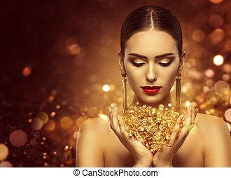 piękny, złoty, fason, biżuteria, złoty, makijaż, biżuteria, kobieta, luksus, dzierżawa, wzór, piękno, siła robocza, dziewczyna