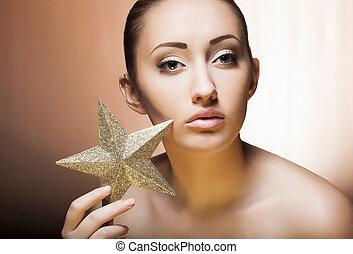 piękny, złoty, kobieta, star., charakteryzacja, profesjonalny, święto