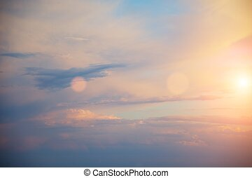 piękny, zachód słońca