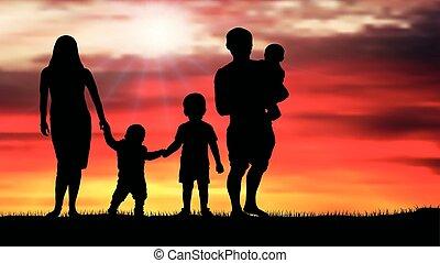 piękny, zachód słońca, sylwetka, rodzina