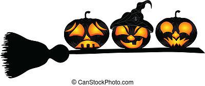 piękny, zamiatacz, halloween, ilustracja, wektor, dynie