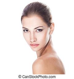 piękny, zdrowa kobieta, młody, twarz