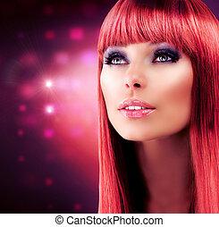 piękny, zdrowy, haired, kudły, portrait., wzór, dziewczyna, czerwony