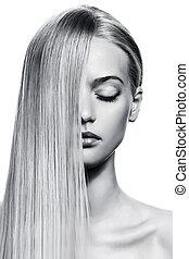 piękny, zdrowy, wizerunek, długi, girl., bw, hair., blondynka