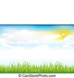 piękny, zielony krajobraz, z, chmury