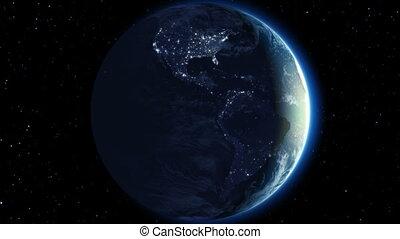 piękny, ziemia, ruch obrotowy, 360, pętla
