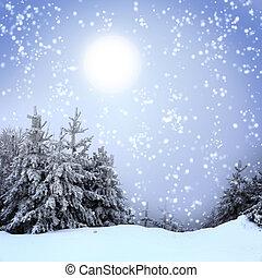 piękny, zima, śnieg, drzewa, pokryty, krajobraz
