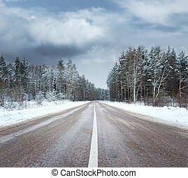 piękny, zima sceniczna