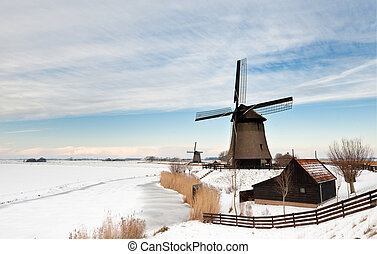 piękny, zima, wiatrak, krajobraz