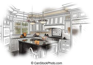 piękny, zwyczaj, kuchnia, projektować, rysunek, i,...