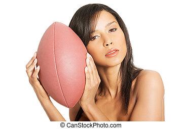 piłka, amerykańska piłka nożna, kobieta, sexy