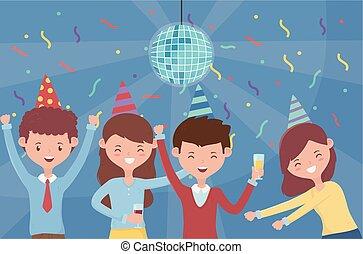 piłka, celebrowanie, taniec, confetti, dyskoteka, partia, ludzie