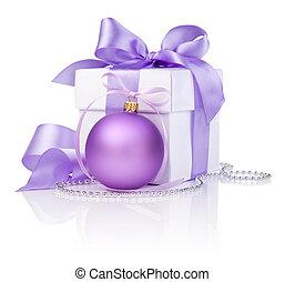piłka, dar, purpurowy, odizolowany, łuk, tło, białe boże narodzenie, wstążka