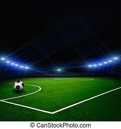 piłka do gry w nogę, na, przedimek określony przed rzeczownikami, stadion