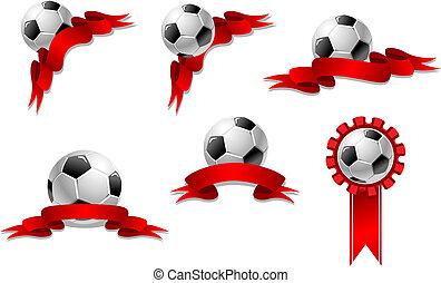 piłka do gry w nogę, wstążka, albo, piłka nożna