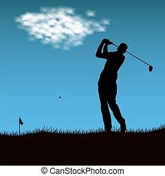 piłka, golf, ostrzał, po, gracz, sylwetka