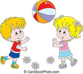 piłka, grający dziećmi