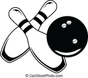 piłka, graphi, -, dwa, bowling szpilki