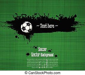 piłka, grunge, piłka nożna, tło., miłośnicy, piłka nożna