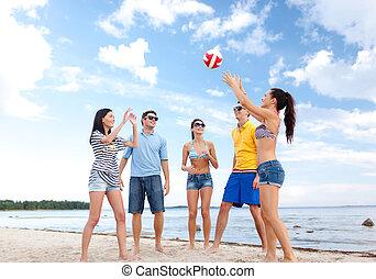 piłka, grupa, przyjaciele, plaża, interpretacja, szczęśliwy