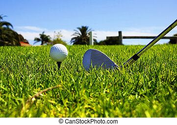 piłka, i, golfowe kluby