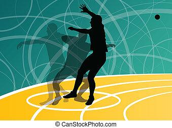 piłka, ilustracja, wyrzucanie, collection., abstrakcyjny, samiec, sylwetka, wektor, tło, afisz, sport, athletics.